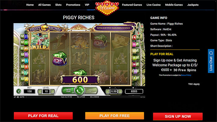 Amazing Welcome Package up to £/$/€600 + 30 Free Spins At Piggy-Riches Game.