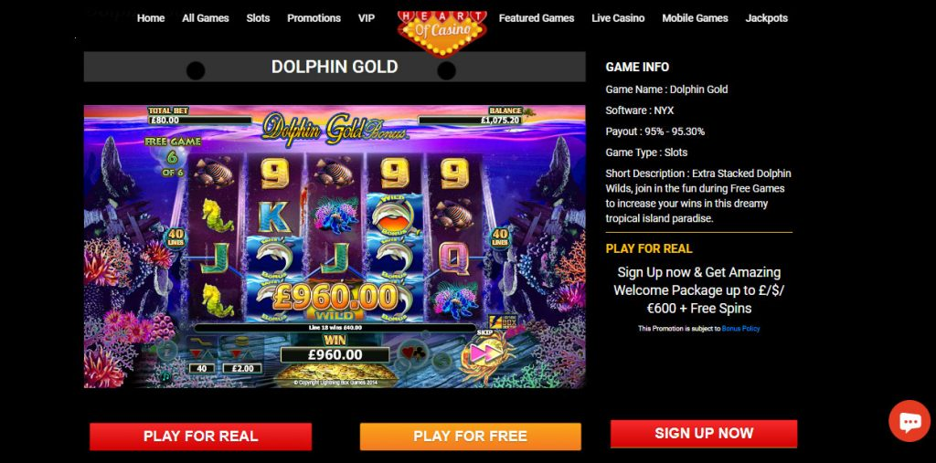 Amazing Welcome Offers up to £/$/€600 + 25 Free Spins At Dolphin gold   Game.
